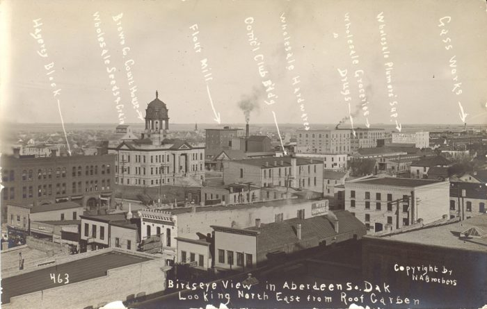 5. Marked photograph of downtown Aberdeen, SD, 1910
