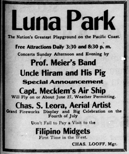 Announcement of the first airship flight above Seattle, by L. G. Mecklem, at Luna Park-12161978404