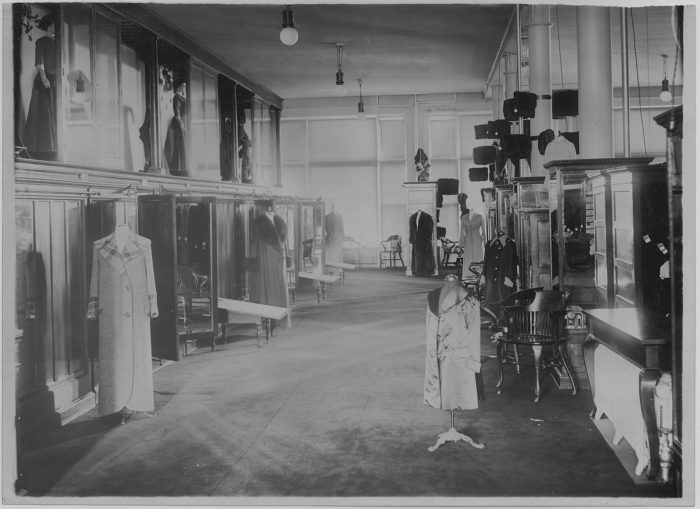 "6. ""Bee Hive Co."" clothing store showroom, Sioux Falls, SD, 1910"