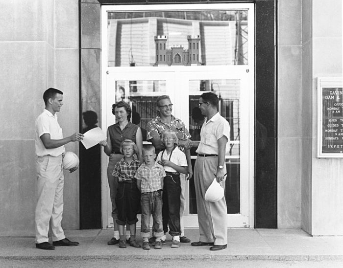 7. This family was the 20,000th visitor to the Gavins Point Dam powerhouse, 1958