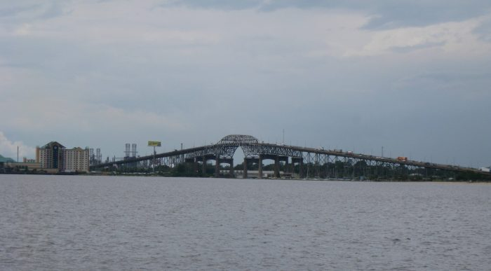 The Calcasieu River Bridge in Southwest Louisiana was originally built in 1951, opening up to traffic in 1952.