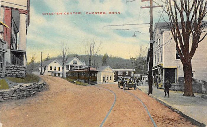 This postcard shows the now extinct Shore Line Electric Railway trolley in Chester Center.