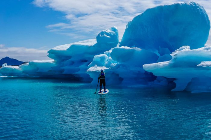 2. Paddleboard around glaciers in Kenai Fjords National Park.