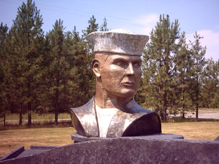 In the museum area, one particular bust of a sailor stands front and center, his face chiseled in the memory of former recruits.