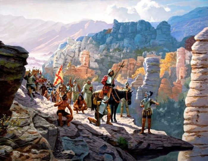 """In the mid-1500s, Spanish conquistador Francisco Vásquez de Coronado lead a large quest from Mexico to (modern-day) Kansas in search of the legendary """"Seven Cities of Gold."""""""