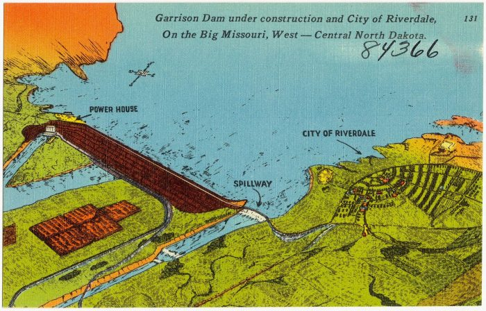 An illustrated diagram from the 1930s shows the plans for the dam.