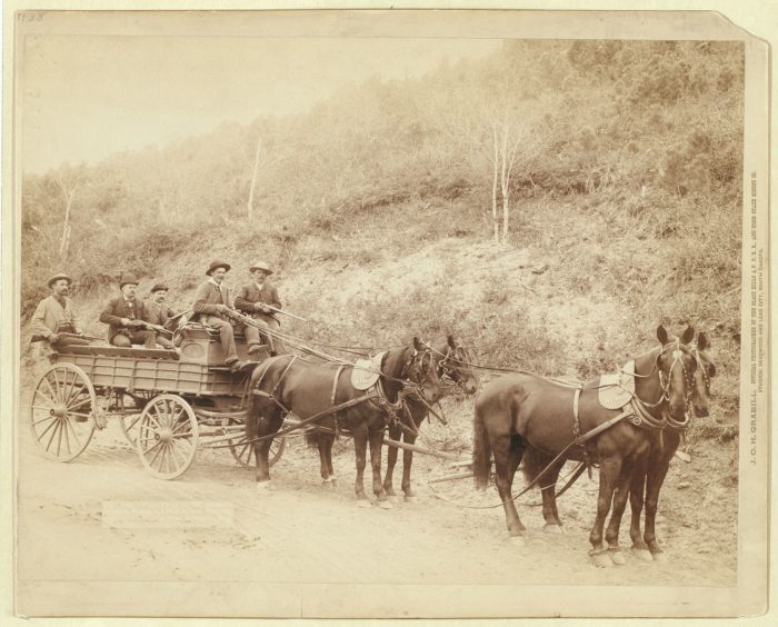 8. Wells Fargo Express Co. Deadwood Treasure Wagon and guards with $250,000 gold bullion from Homestake Mine, Deadwood, SD, 1890