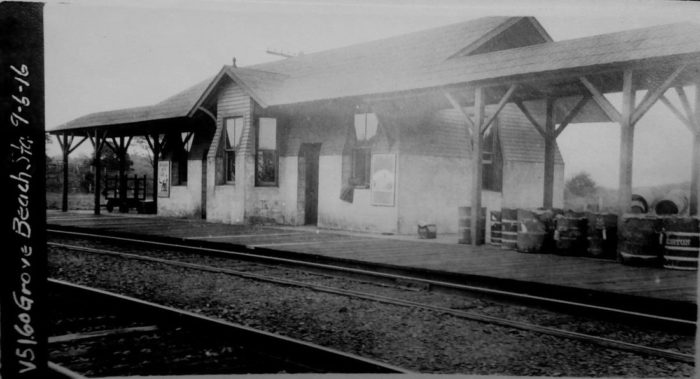 This image of Grove Beach Station is a testament to how small and simple everything used to be!