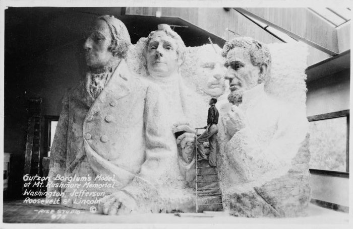 7. The original design included torsos of each president, as shown in the original concept sculpture here. Due to lack of funding, they decided not to include them.