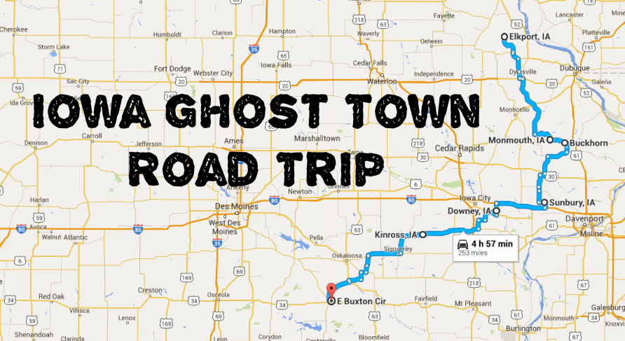 Haunting Road Trip Through Iowa Ghost Towns - Map of iowa towns