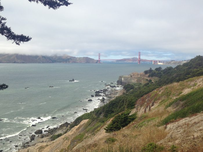 After a few twists and turns, the foliage disperses and you can say a big hello to the Golden Gate Bridge.