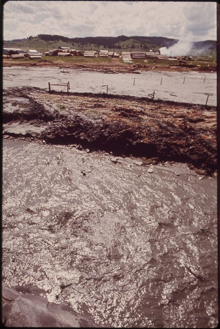 7. Polluted creek running from the Homes Stake Mine in Sturgis, 1972
