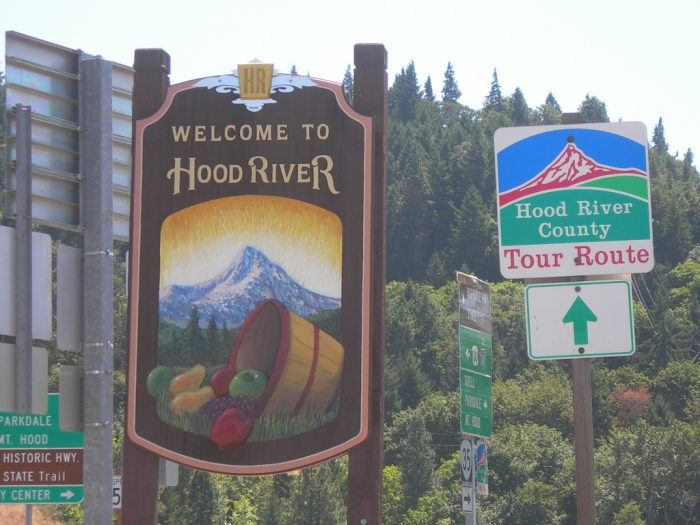 If you drive about an hour east on the I-84, you will eventually arrive to a little town called Hood River.