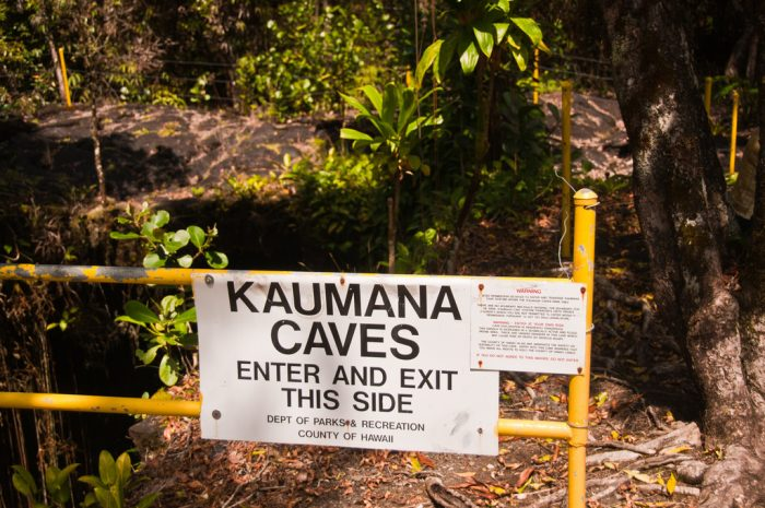 The incredible formation was created during a 1881 lava flow from Mauna Loa, and is, in fact, a 25-mile long lava tube.