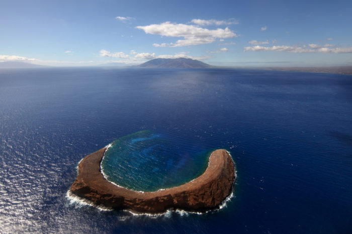 Located just 2.5 miles off the shores of Maui's Makena State Park is Molokini, all that remains of an ancient cinder cone that last erupted more than 230,000 years ago.