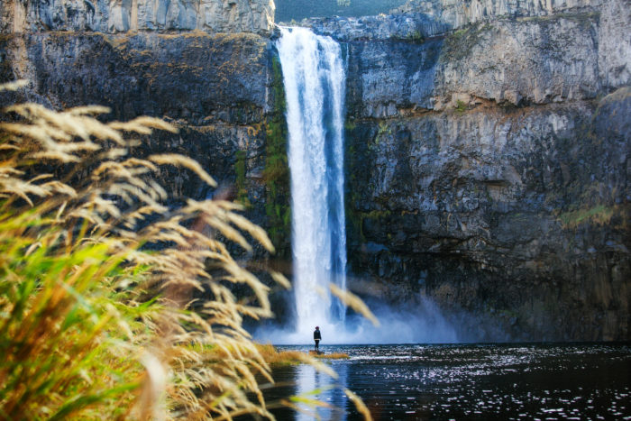 Person Standing in Front of Palouse Falls in Washington by Michael Matti-16506356162 (1)
