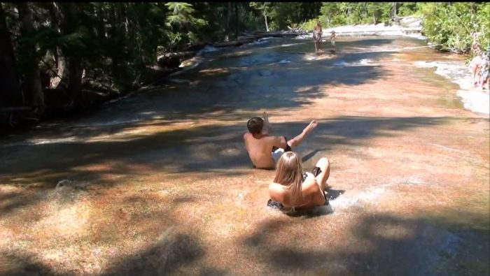 Priest Lake State Park waterslide at Lion Head