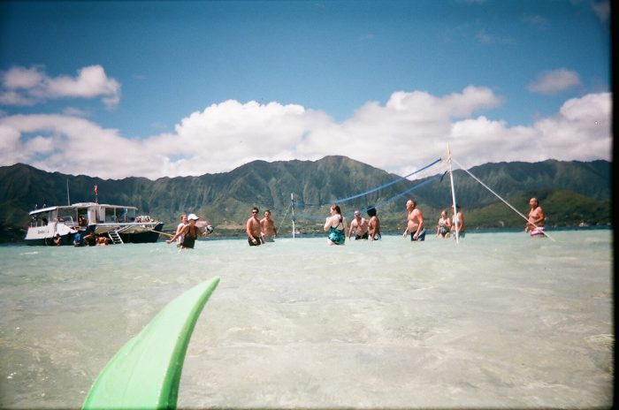 The sandbar is notorious for being the best place to throw a party on the Windward coast. Most people bring a ton of food, drinks, and just hang out catching some sun and playing volleyball.
