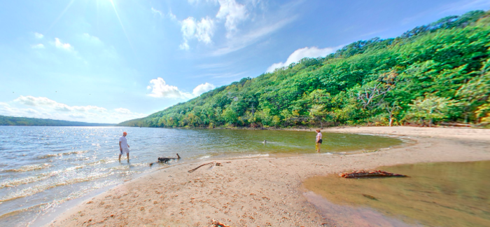 6. Go for a swim on the gorgeous beach at Afton State Park.