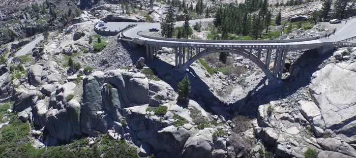 The drone passes through over the dramatic canyons where the Donner Party resorted to cannibalism in order to survive their 1846 journey through the pass.
