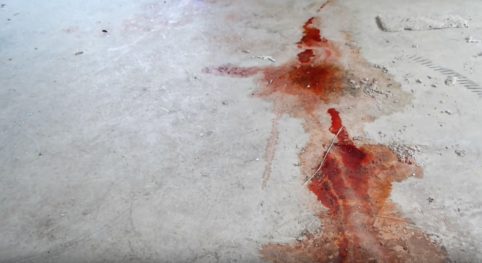 ...a series of grisly, red stains...
