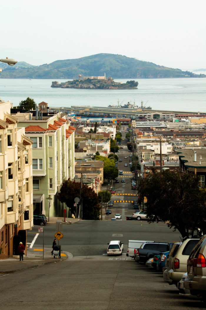 At the top of Taylor Street, look north for a stunning view down the hill and into the Bay, all the way to Alcatraz.