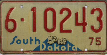 6. A 1970s South Dakota license plate design