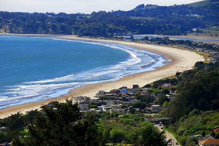 From San Francisco, you've got a scenic (and very curvy) drive that passes through Muir Beach, Mt. Tamalpais State Park, and Stinson Beach (pictured here).