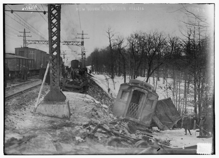 On February 22, 1916, a train car derailed in New Haven.