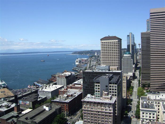 3. The view from the top of the Smith Tower in Seattle.