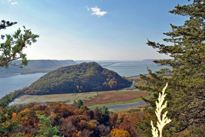 2. Trempealeau Mountain sits in the middle of the water.