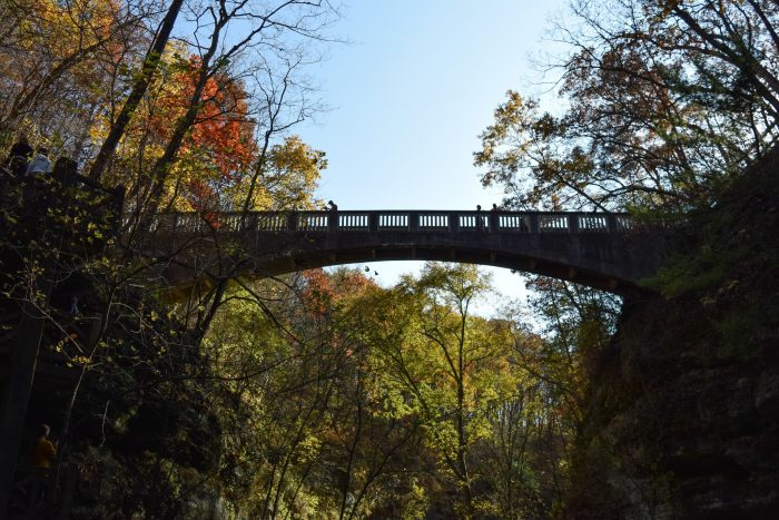 1. There is a wonderful bridge that goes over a canyon, as well as stairs to get to the bottom.