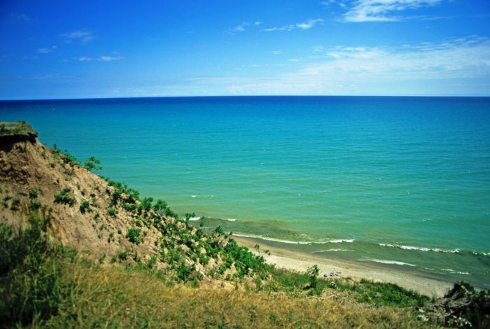 6. 100 foot bluffs look out over Lake Michigan.