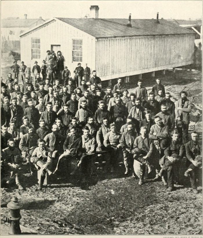 This is a group of soldiers at Camp Douglas, sometime between 1861 and 1865.