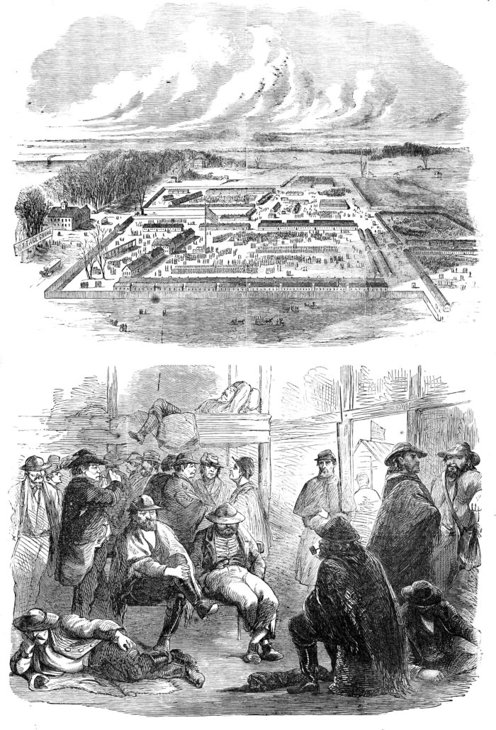 The top image shows the camp and the bottom image shows some of the prisoners.