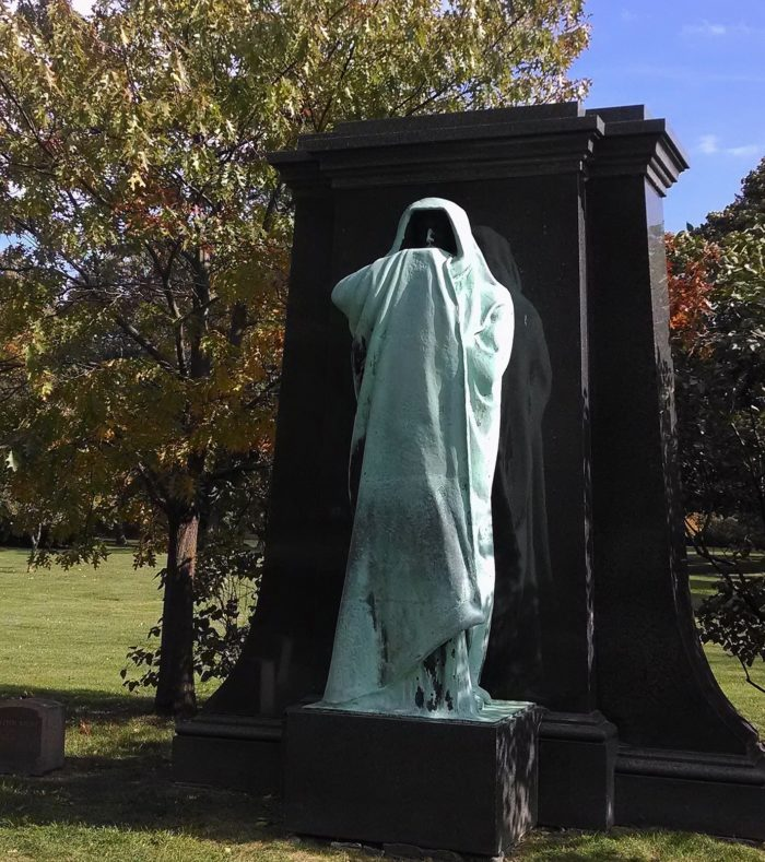 1. You can find this statue at Chicago's renowned Graceland Cemetery.