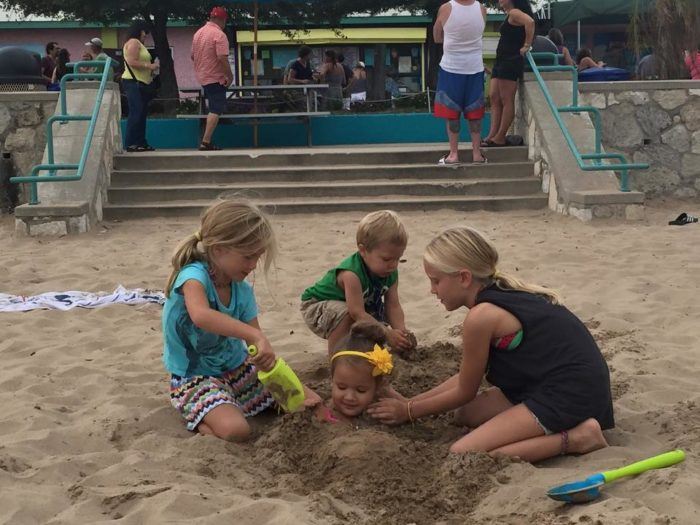 5. There's loads for the kids to do, but also volleyball courts for the grown ups.