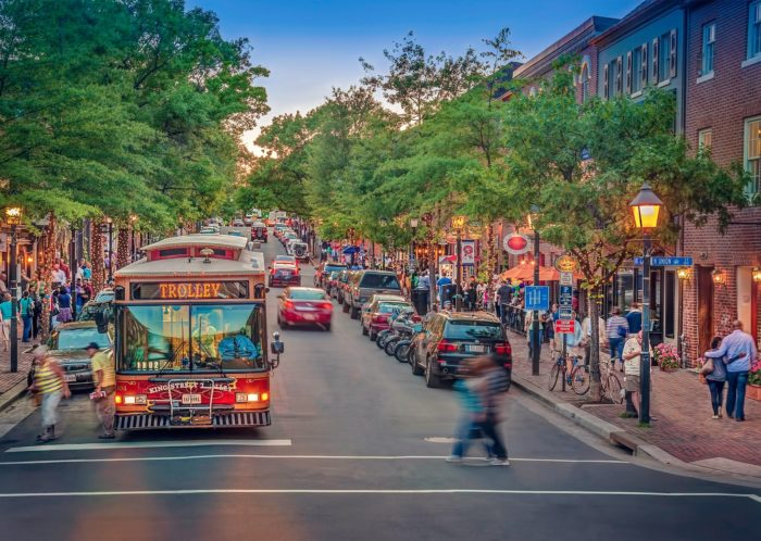 The free King Street Trolley is the quickest way to explore old town Alexandria. The trolley stops every two blocks.