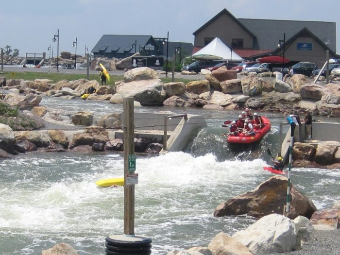 Visitors can take on the course via raft, kayak, or river board.