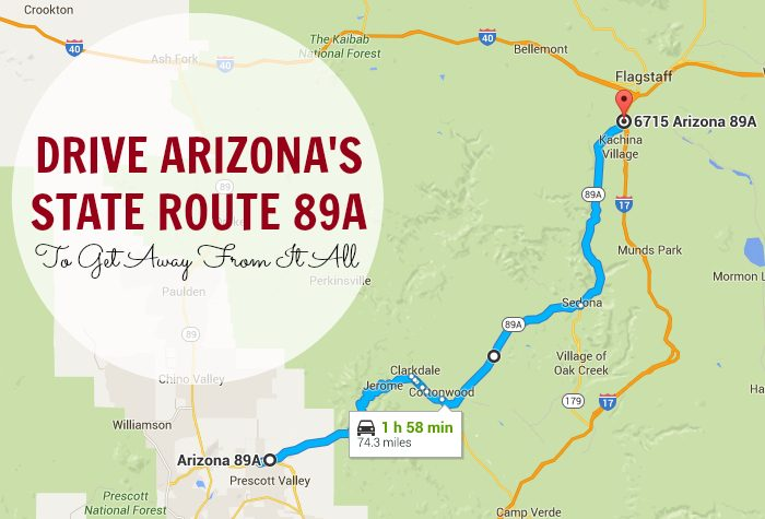 Map Of 89a Arizona.Drive Arizona S State Route 89a To Get Away From It All