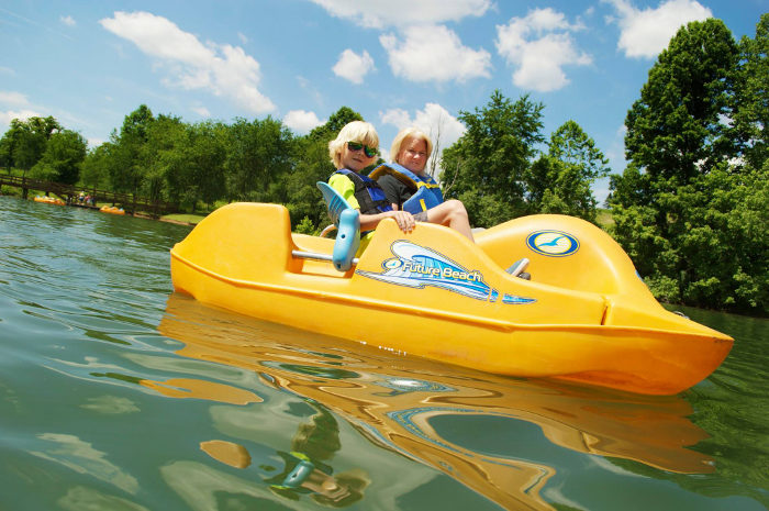 The lake offers numerous water activities.