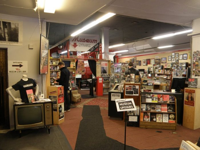 There's also a tiny movie theater showing video clips from the era, and once you're done exploring the museum, you can look through a great selection of related books, records, and gifts.