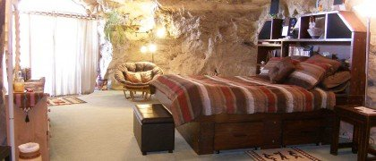 10. Spend the night in a cave hotel with views of La Plata River valley.