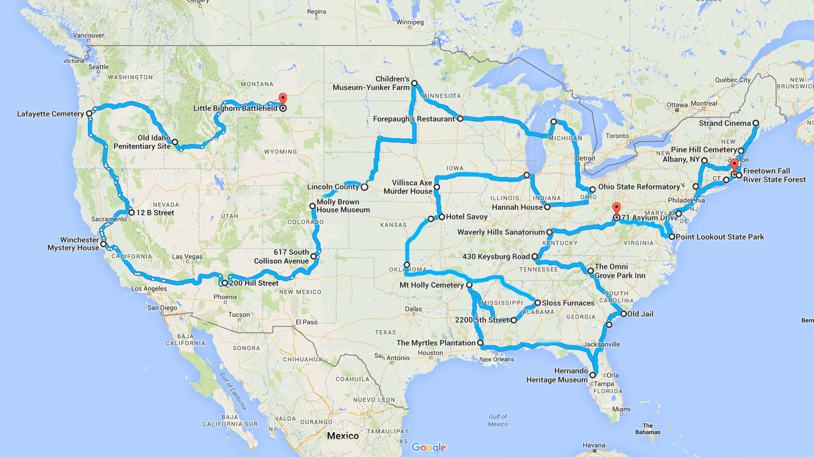 Ultimate Haunted Places USA Road Trip - Black widow us map