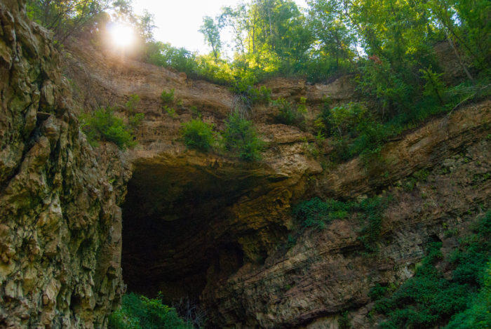 The bridge is part of the uncollapsed original cave and is one of the largest natural bridges in Missouri.