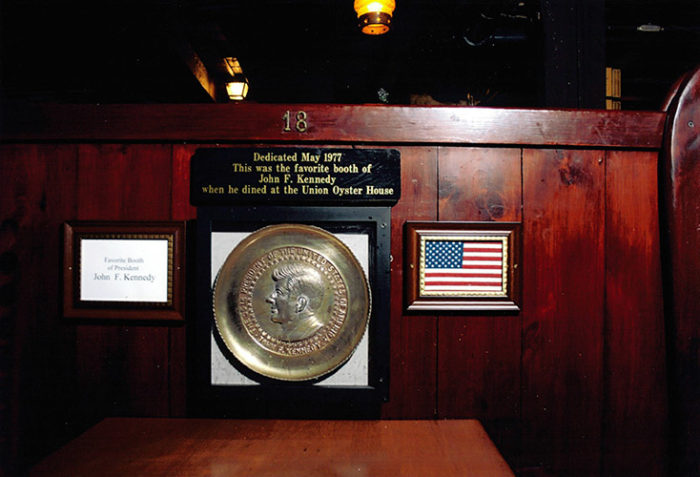 President John F. Kennedy's favorite booth at the Union is marked with a plaque, in case you want to reserve a seat.