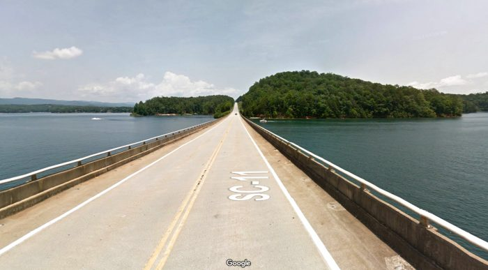 Driving farther along SC-11, you'll enjoy a panoramic view of Lake Keowee from the comfort of your car.