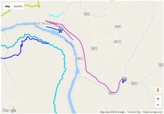 The 6 mile gravel trail travels on a 4 percent grade through the lower New River Gorge, along scenic streams and through the remains of the town of Nuttallburg.