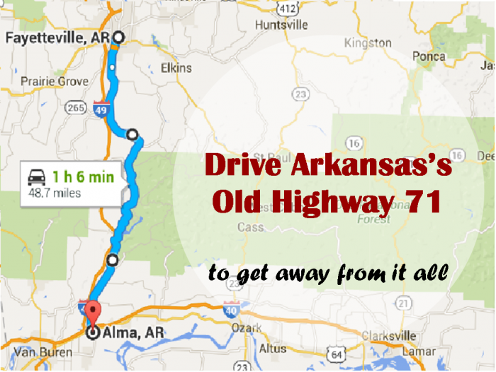 This Road To Nowhere In Arkansas Will Take You Away From It All - Arkansas highway map