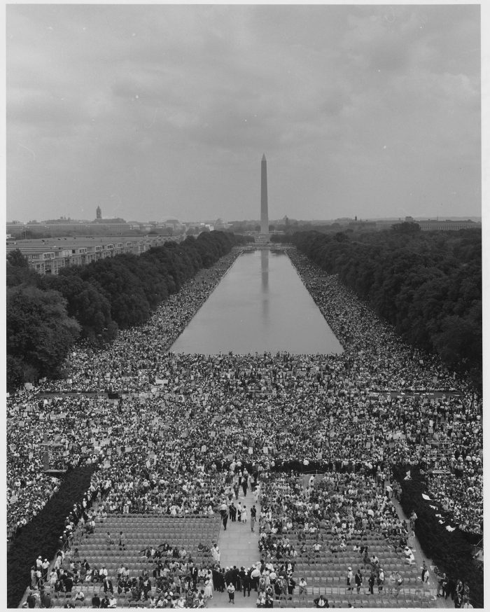 9. The Reflecting Pool during the March on Washington, DC in 1963.